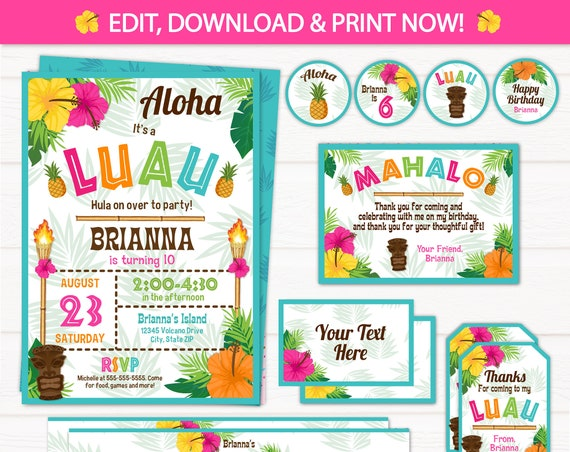 Luau Invitation - Luau Birthday Invitations - Luau Party Invitations - Luau Supplies - Luau Party Favors - INSTANT ACCESS - Edit NOW!