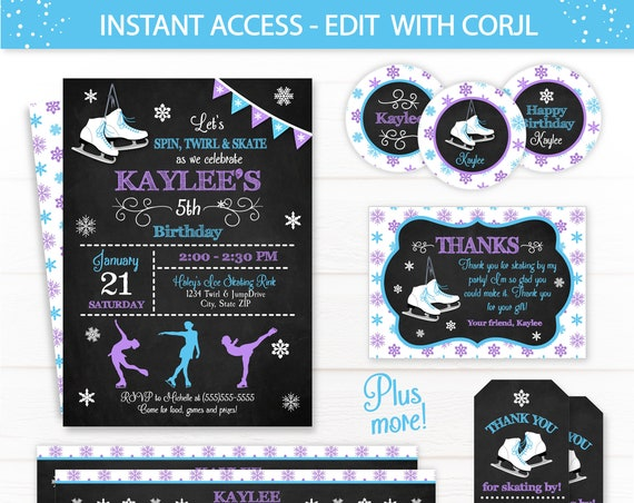 Ice Skating Party Invitations - Ice Skating Birthday - Figure Skating Party - Ice Skating Favors - Ice Skating Party Supplies - Edit Now!