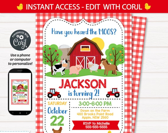 Farm Party Invitation, Farm Themed Birthday Invitation, Barnyard Party Invitation, Farm Invitation - INSTANT ACCESS - Edit NOW