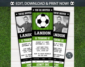 Soccer Invitations - Soccer Ticket Invitation - Soccer Party - Soccer Birthday Invitation - Soccer Party Supplies - Football- Corjl