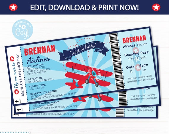 Airplane Party Ticket Invitations - Plane Party Invitations - Plane Birthday Party - Airplane Invitations - Instant Access - Edit NOW!