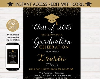 Graduation invitations etsy graduation invitations graduation party invite gold graduation party supplies graduation photo invitation instant access edit now filmwisefo