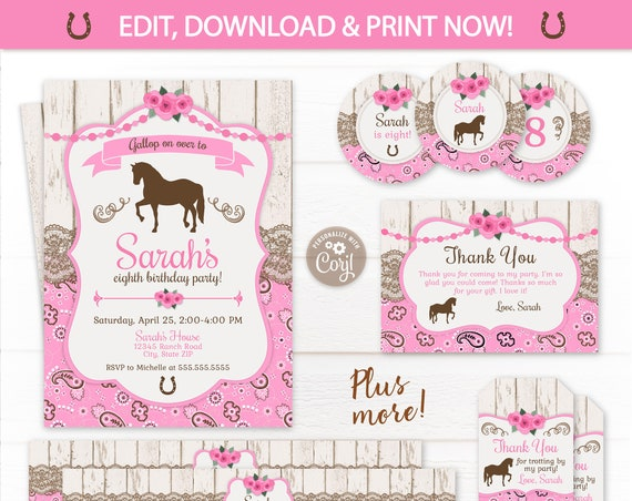 Horse Party Invitations - Girl's Horse Birthday Invitations - Horse Party Favors - Horse Party Supplies - INSTANT ACCESS - Edit NOW!