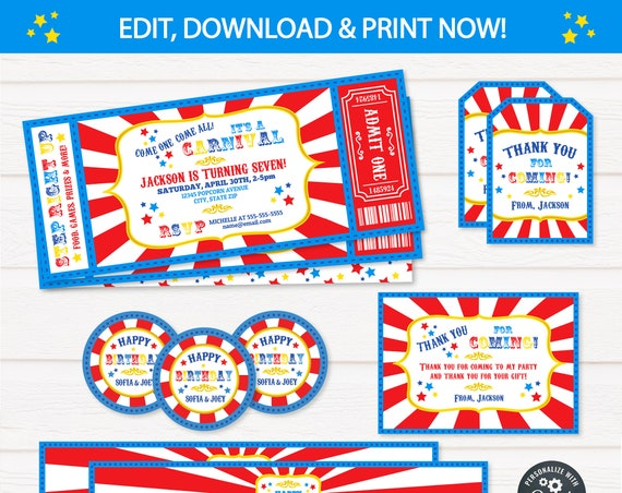 Carnival Birthday Invitations, Carnival Invitations, Carnival Theme Party, Carnival Party Supplies - INSTANT DOWNLOAD - Edit NOW!
