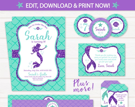Mermaid Invitations - Mermaid Birthday - Mermaid Party Pack - Mermaid Theme - Mermaid Labels - Mermaid Party Decorations - Edit NOW!