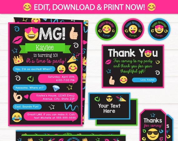 Emoji Party Invitations - Emoji Party Supplies - Emoji Party Favors - Emoji Birthday Invitations - Instant Download - Edit NOW! ArcticParty
