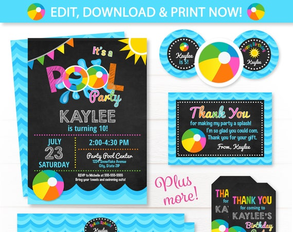 Pool Party Invitations - Swim Party - Girls Swim Party - Pool Birthday Invitations - Thank You Cards - Girls Swim Party - INSTANT ACCESS!