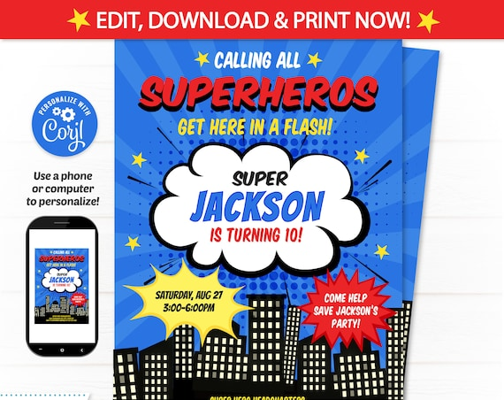 Superhero Invitations, Superhero Birthday Invitations - Superhero Party Invitations - Super Hero Party - INSTANT ACCESS - Edit NOW!