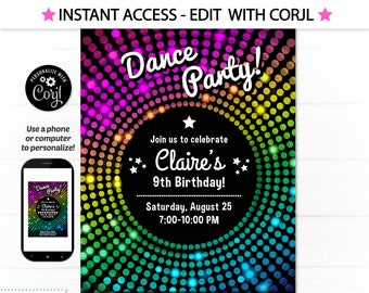 Dance Party Invitation - Disco Dance Party Invitations - Disco Party - Disco Birthday Party - Disco Dance, INSTANT DOWNLOAD- Edit with Corjl