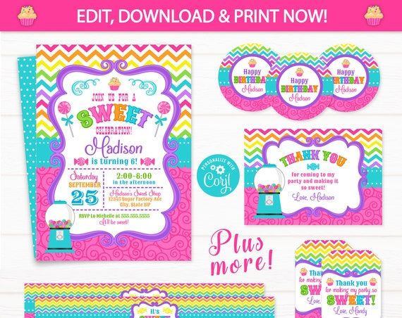 Candy Shop Invitation - Candy Birthday Invitations - Candy Shoppe Party Invitations - Candy Party Thank You - INSTANT ACCESS! Edit NOW!