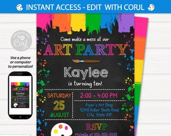 Art Party Invitation - Art Invitation - Art Birthday Party - Painting Party - Pink - INSTANT ACCESS - Edit with Corjl in your browser
