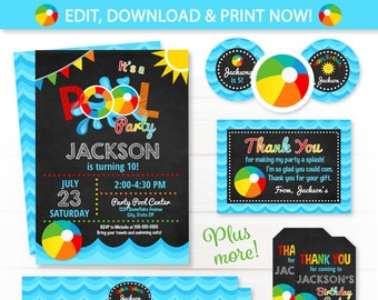 Pool Party Invitations - Pool Party - Swim Party - Pool Birthday Invitations - Pool Thank You Cards - Pool Party Favors - Pool Water Bottle