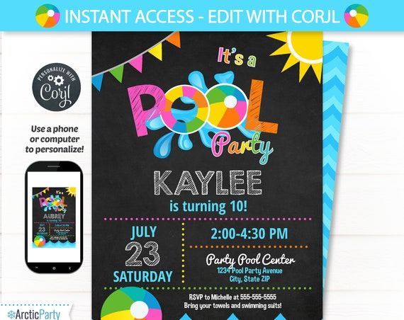 Pool Party Invitations - Swimming Pool Birthday Party - Swimming Party Invitations - Pool Party Invitation - Pool Party Supplies - Edit NOW!