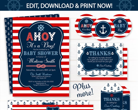Nautical Invitation - Nautical Baby Shower Invitations - Nautical Party Supplies - Nautical Labels - Nautical Party Favors - INSTANT ACCESS