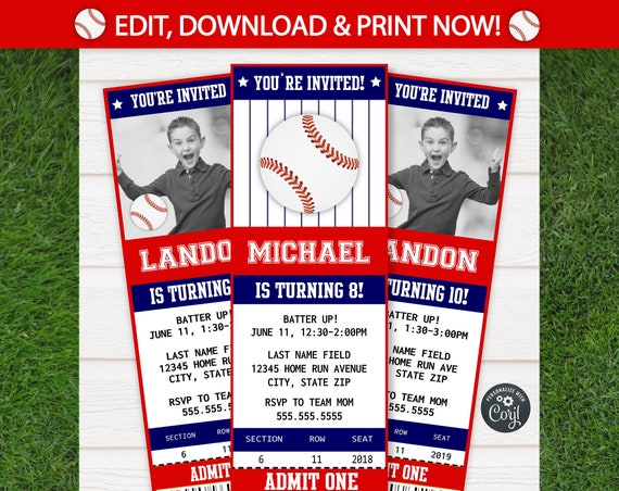 Baseball Invitations - Baseball Birthday Invitations - Baseball Ticket Invitation - Baseball Party Invitations - INSTANT ACCESS - Edit NOW!