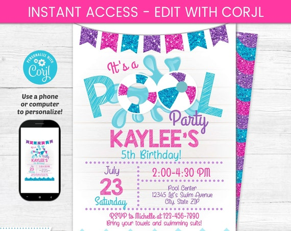 Pool Party Invitation - Swimming Party - Pool Party Birthday Invitations - Girl's Pool Party - Pink Pool Party - Birthday Pool Party