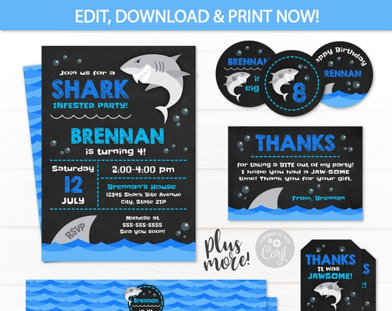 Shark Birthday Invitations - Shark Party Supplies - Shark Party Favors - Shark Party Decor - Shark Water Bottle - INSTANT ACCESS - Edit NOW!