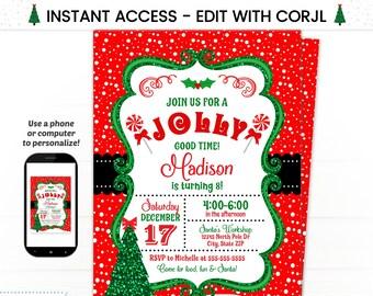Christmas Invitations Christmas Party Invitation Holiday Etsy
