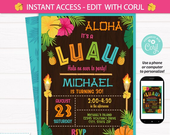 Luau Party Invitations - Luau Birthday Invitations - Adult Luau Invitation - Luau Invitation - Hawaiian Invitation- INSTANT ACCESS- Edit NOW