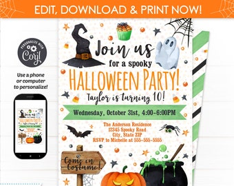 Halloween birthday invitation Etsy
