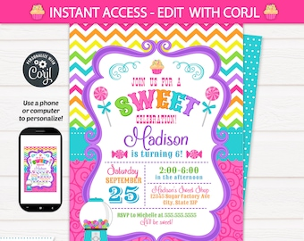 candyland invitations candy land birthday invitation candy invitations cupcake birthday cupcake invitation instant access corjl