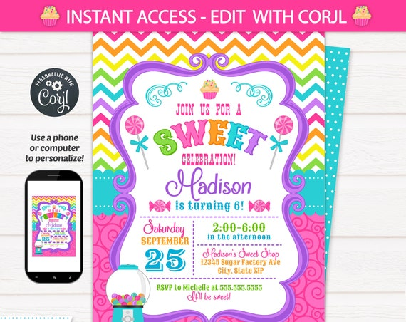 Candy Shop Invitations - Candy Birthday Invitation - Candy Invitations - Cupcake Birthday - Cupcake Invitation - INSTANT ACCESS! Corjl