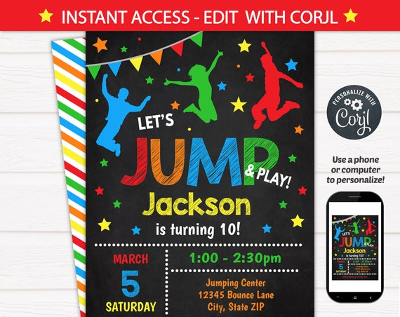 Jump Invitation - Bounce House Birthday Invitation - Jump Party Invitation - Edit at home NOW! INSTANT ACCESS! Bounce Birthday Party - Corjl