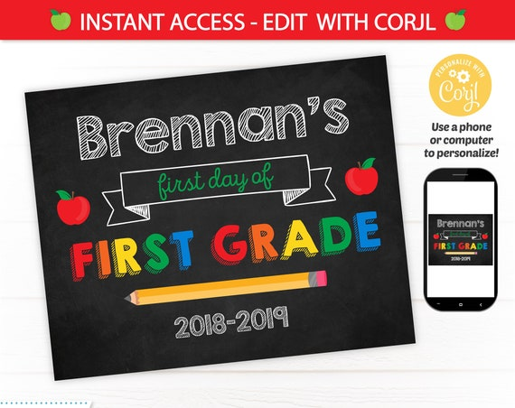 First Day of School Sign - Back to School Sign Template - First Day of School Chalkboard Sign - Editable School Sign - INSTANT ACCESS!