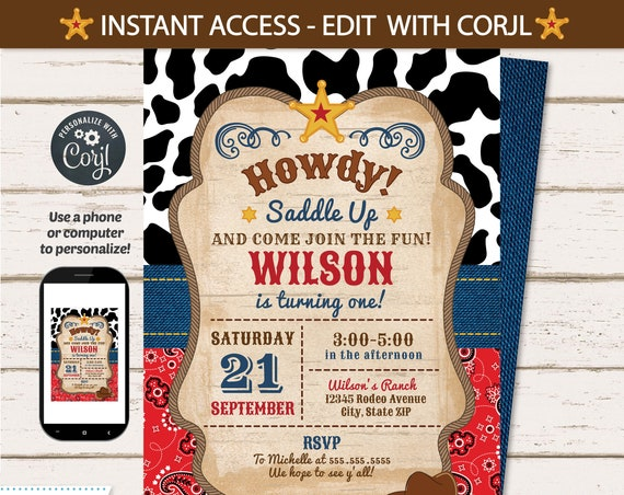 Cowboy Invitations - Western Invitations - Cowboy Party Invitations - Western Party Invitations - EDIT at home NOW! Cow boy Invitation