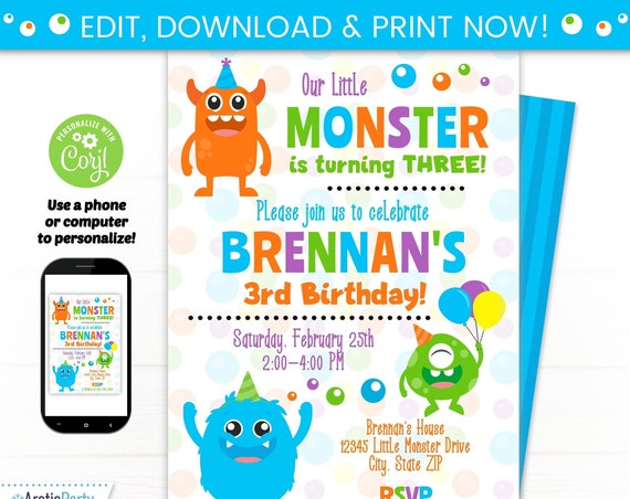 Monster Party Invitation Template - Monster Birthday Invitation - Monster Invitation - INSTANT ACCESS - Edit NOW! - Monster Party First