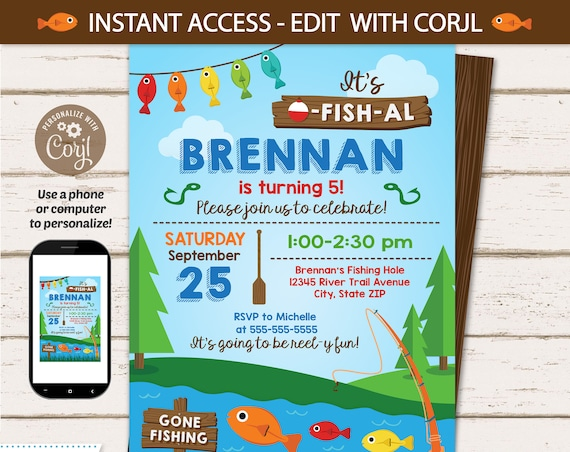 Fishing Birthday Party Invitations - Fishing Party Invitation - Fishing Party Supplies - Fishing Invitations - INSTANT ACCESS - Edit NOW!