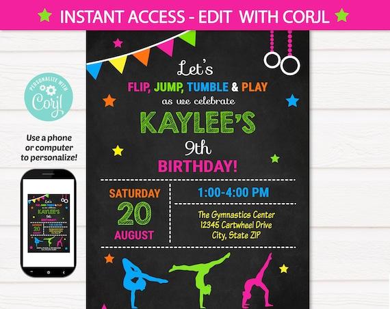 Gymnastic Invitations - Gymnastics Birthday Invitation - Gymnastics Party Invitation - Gymnastics Invite - Edit NOW - INSTANT ACCESS!