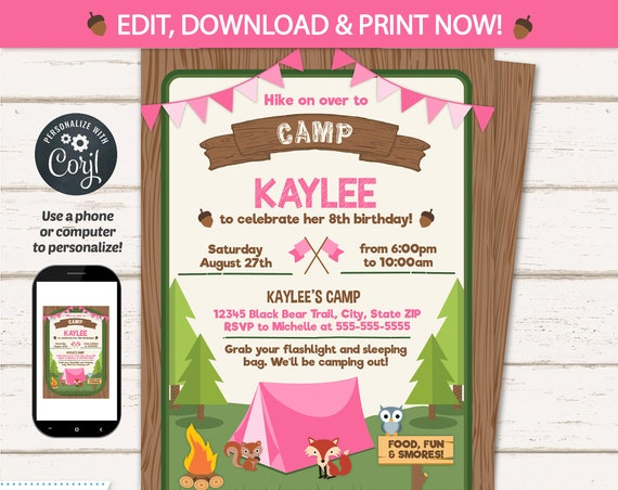 Camping Party Invitations for Girls - Camping Birthday Invitations - Camping Party Supplies - Girl's Camping - INSTANT ACCESS!  Edit NOW!