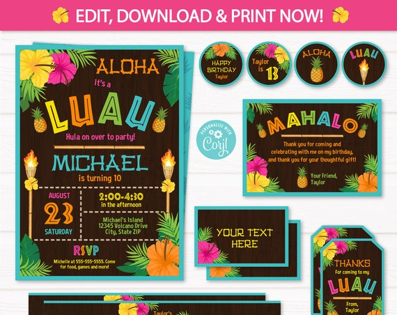 Luau Party Invitations - Luau Birthday - Luau Party Supplies - Luau Invitations - Luau Decor - Adult Luau - INSTANT ACCESS - Edit NOW!