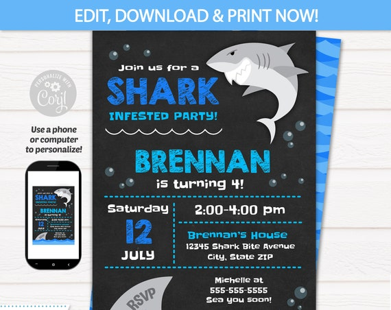 Shark Party Invitations - Shark Birthday Party Invitation - Shark Party Supplies - Shark Invitation - INTSTANT ACCESS to files! Edit NOW!