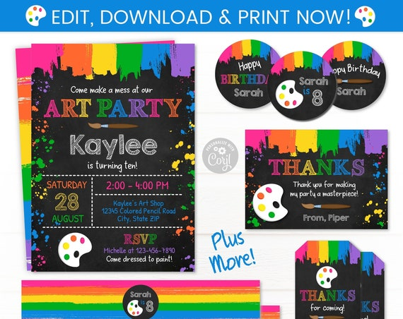 Girls Art Party Invitations - Art Party Supplies - Pink Art Party - Art Party Invites - Art Party Ideas - Girl's Art Birthday Party