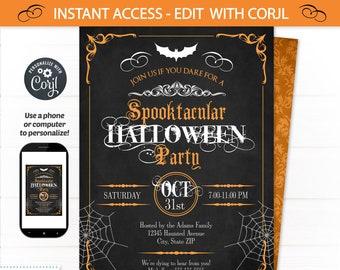 Halloween Invitations, Halloween Party Invitations, Halloween Chalkboard - Halloween Party Supplies - Halloween Office - Spooktacular