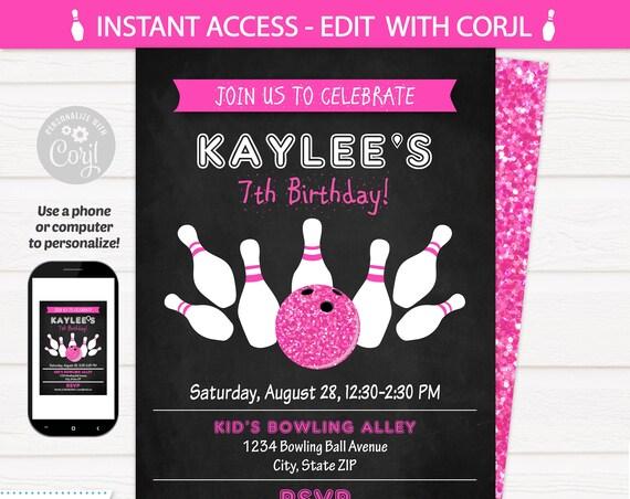 Bowling Invitations - Bowling Birthday - Bowling Birthday Party Invitation - Pink Bowling - Bowling Party Supplies - Edit NOW! Corjl