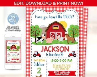 Farm Party Invitation, Farm Themed Birthday Invitation, Barnyard Party Invitation, Farm Invitation - Barn Party - Farm Birthday Invitation