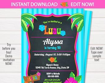 Luau Invitations - Luau Party Invitations - Luau Birthday Party - Hawaiian Invitations-  INSTANT Download- Edit NOW with Templett.com!!
