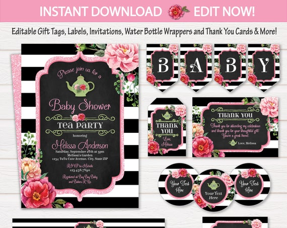 Tea Party Baby Shower Invitations - Tea Party Banner - Tea Party Baby Shower - Tea Party Labels - INSTANT Download - Edit NOW with Adobe!
