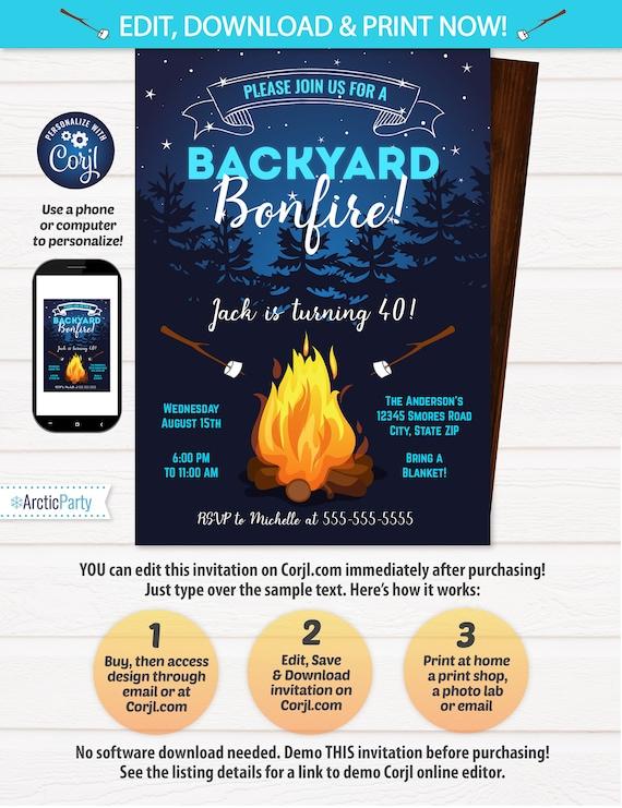 Bonfire Invitation - Camping Birthday Invitations - Backyard Party Invitation - Backyard BBQ Invitation - Bonfire Birthday - INSTANT ACCESS!