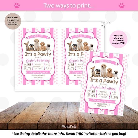 Puppy Birthday Invitation Dog Party Invitations