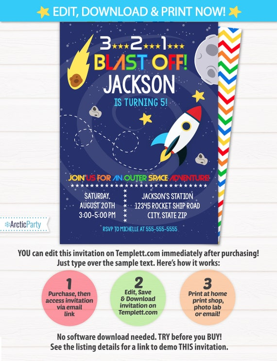 Space Party Invitations For A Themed Birthday
