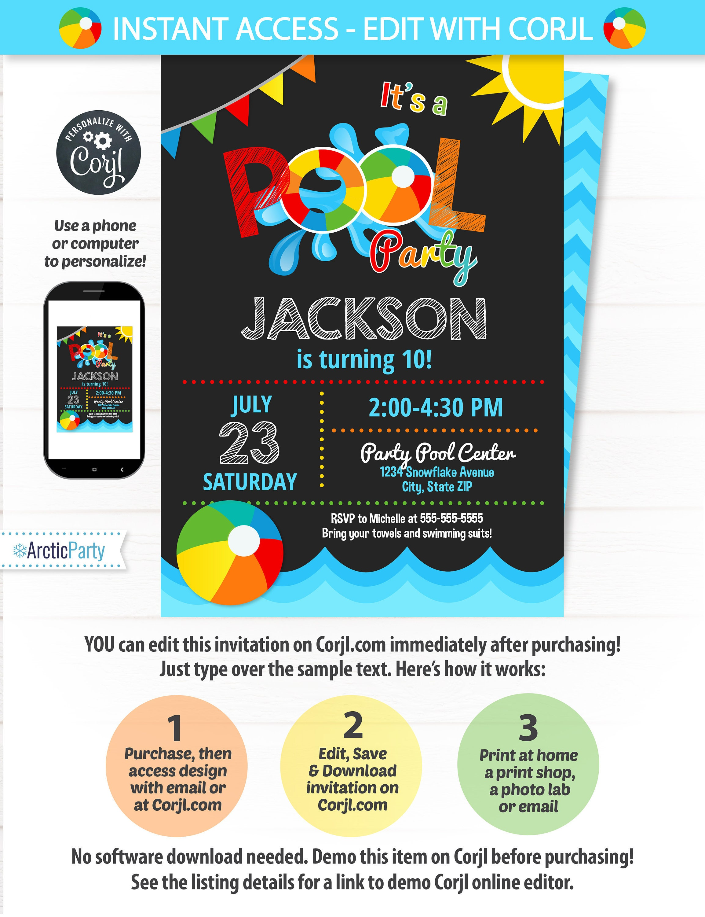 Pool Party Invitation Swimming Pool Birthday Party Pool Party