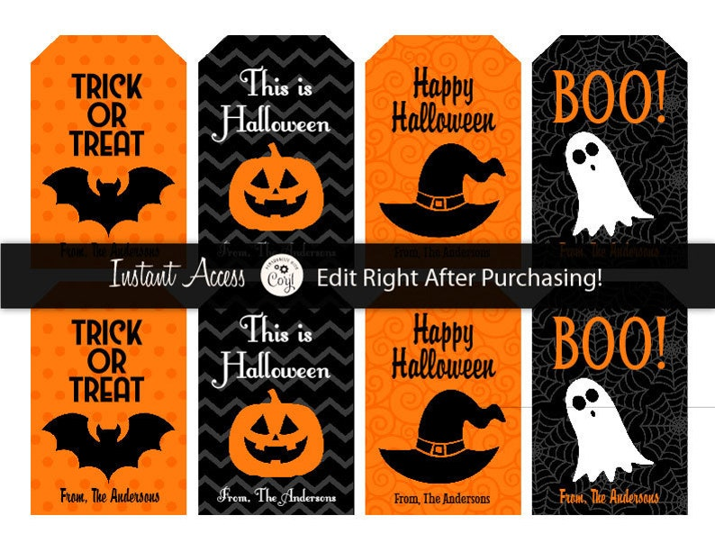 Halloween Gift Tags.Halloween Tags Editable Halloween Tags Halloween Gift Tags Halloween Favor Tags Halloween Party Ideas Instant Access Edit Now