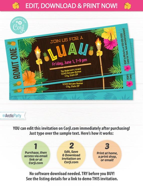 Luau Ticket Invitation - Luau Party Invitations - Summer Party Invitation - Luau Invitation - Hawaiian Luau Invitation - Edit NOW!