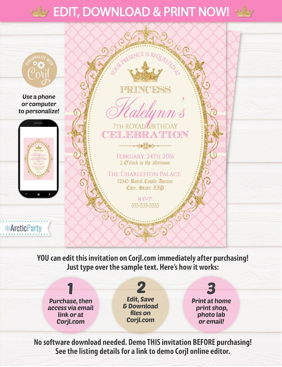Princess Invitations Birthday Party