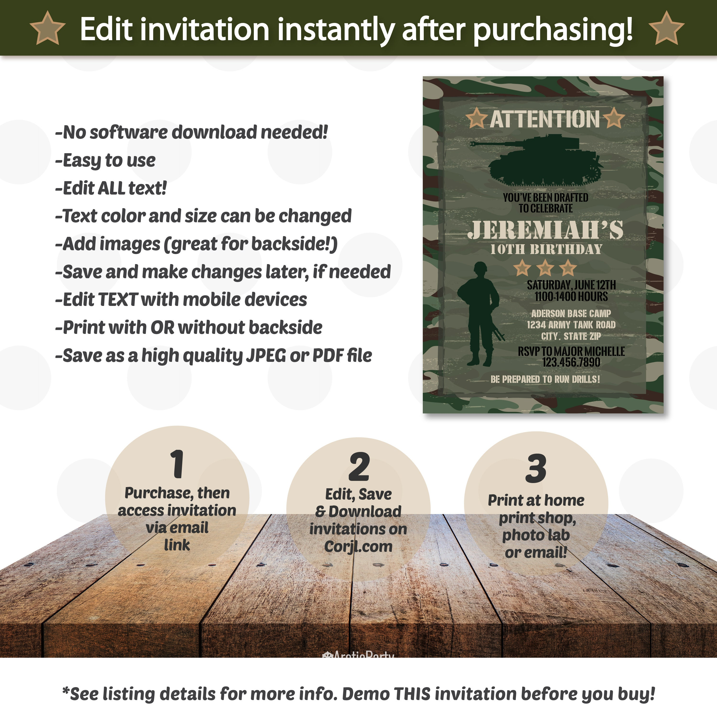 Military Party Invitations