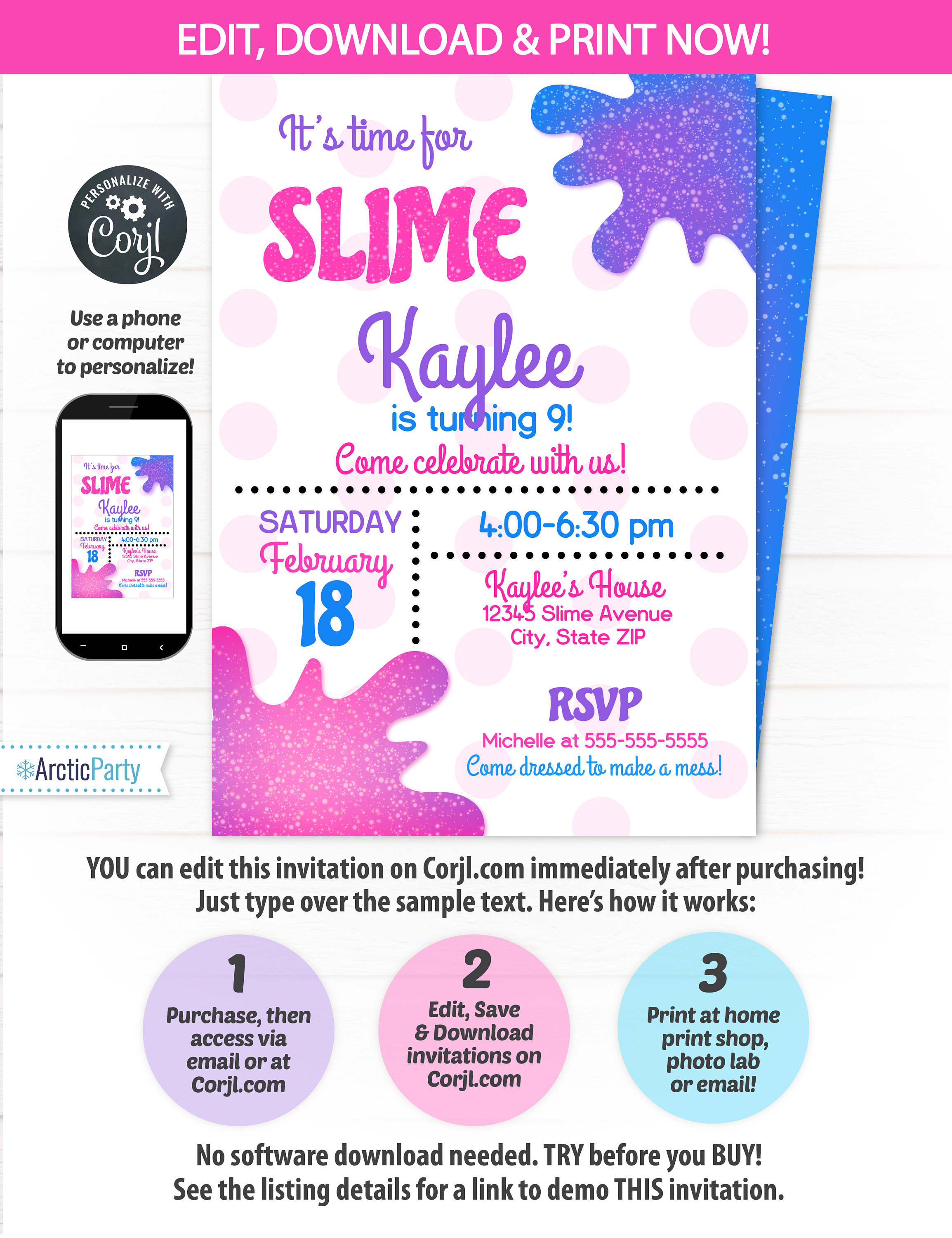 Slime Party Invitations - Slime Invitation - Slime Theme Party ...